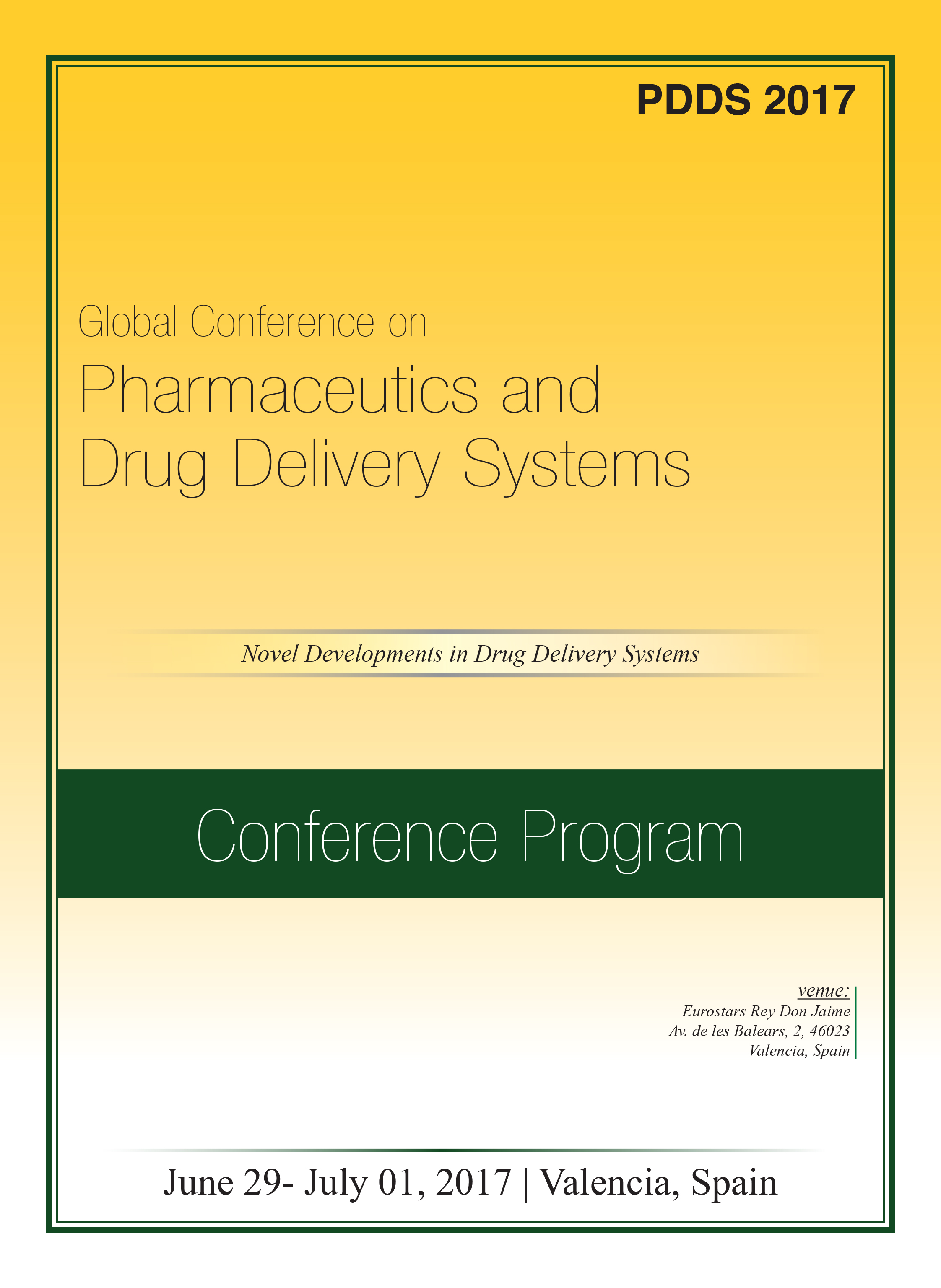 Global Conference on Pharmaceutics and Drug Delivery Systems Program